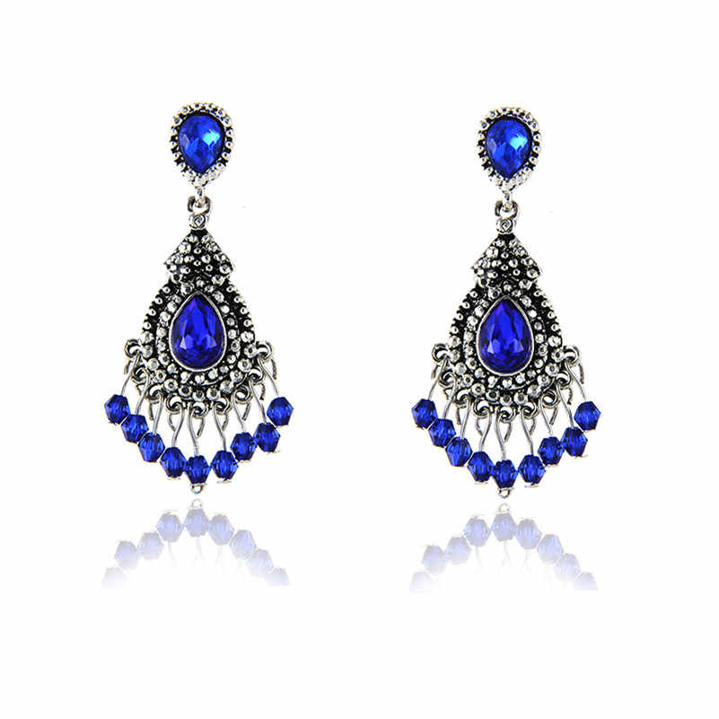E0231 Vintage Luxury Blue Crystal Tassel Drop Earring For Women Fashion Banquet Jewelry 2017 Selling Dangle Earring Elegant Lady