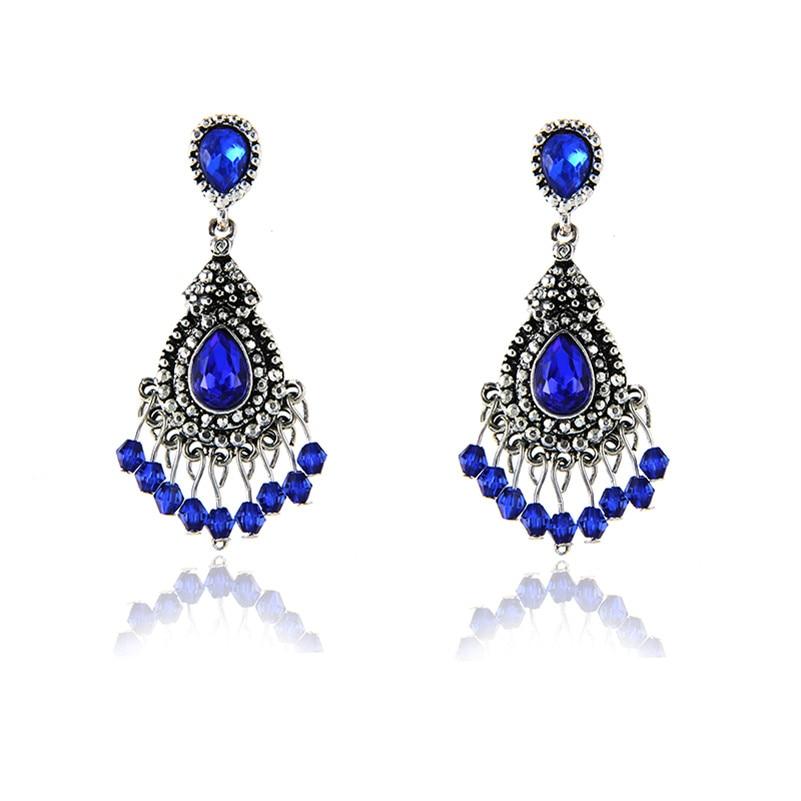 E0231 Vintage Luxury Blue Crystal Tassel Drop Earring For Women Fashion Banquet Jewelry 2017 Selling Dangle Earring Elegant Lady