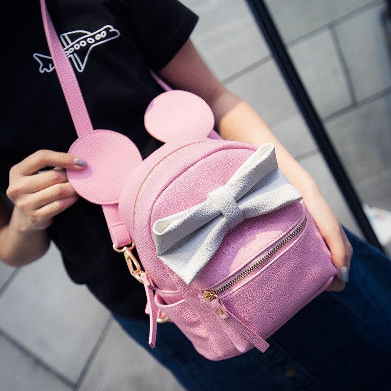1fa766b495fa Mickey backpack 2016 new Female bag Quality pu leather Women Backpack Mickey  ears Sweet girl bow College Wind Travel Rucksack-in Backpacks from Luggage  ...