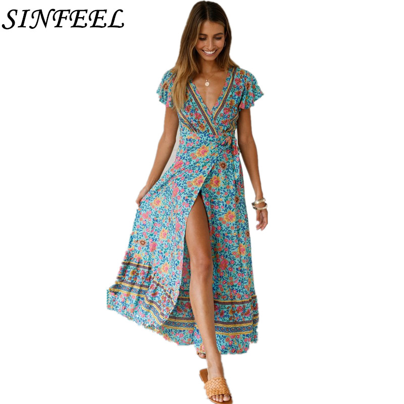 Boho Dress Women Summer 2019 Floral Print Long Bandage Dress Short Sleeve Sexy V-Neck Split Causal Party Maxi Bodycon Dresses