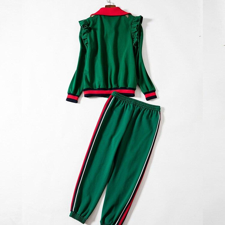 Vestes Femmes De Neuvième Ensemble Qualité Costume Mode Pièces Loisirs Pantsuits D741 Brodé Supérieure Manteau Deux Chic Pantalon Vert EAEWPv8qf