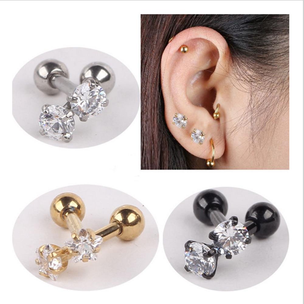 Isayoe 2 Piece 316l Stainless Steel Zircon Tragus Earring Helix Barbell Ear Piercing  Cartilage Ring Jewelry