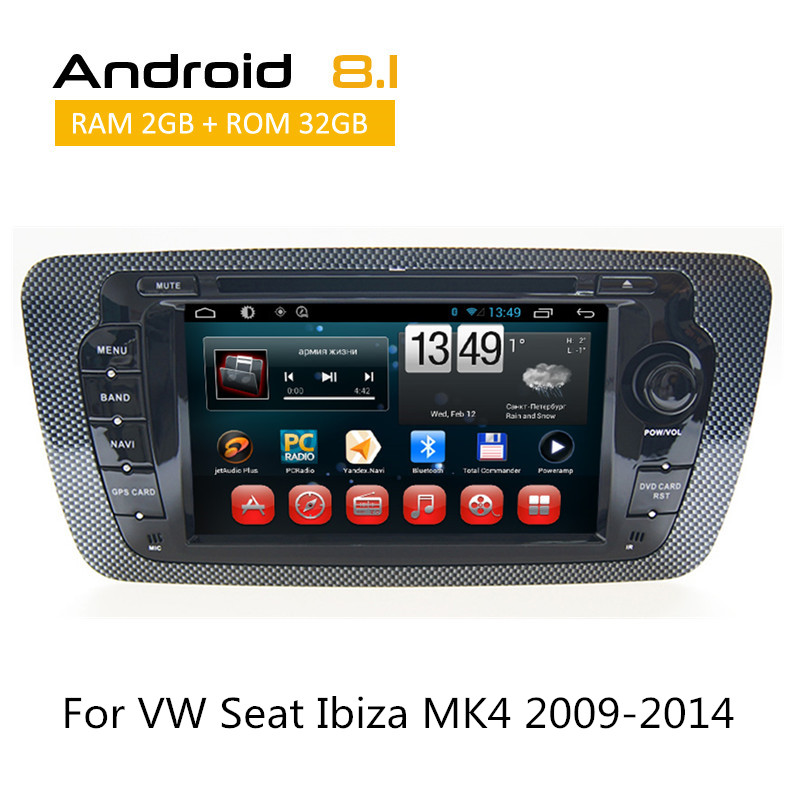 Android 6,0 8,1 Авто Радио стерео для сиденья Ibiza MK4 2009 2010 2011 2012 2013 2014 Штатная мультимедиа с сзади Камера AUX dvd