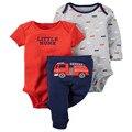 Детские дети clothing ребенка bebes мальчик пожарные машины камуфляж обезьяна 3 шт набор боди и брюки девочка и мальчик 6 М-24 М