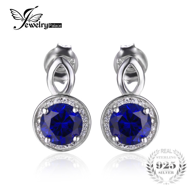 JewelryPalace Round Cut 4.8ct Created Blue Sapphire Halo Drop Earrings Solid 925 Sterling Silver Women Hot Sale Party Jewelry