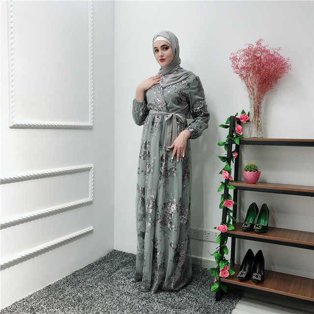 Ramadan Sequin dentelle Abaya dubaï turquie Islam musulman Hijab Robe Caftan Abayas pour les femmes Jilbab Caftan vêtements Qatar Elbise Robe