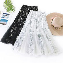 цены на Wasteheart Summer Black Women Skirt Casual High Waist A-Line Mesh Mid-Calf Long Skirt Clothing Ruffles Skirts Floral Printed в интернет-магазинах