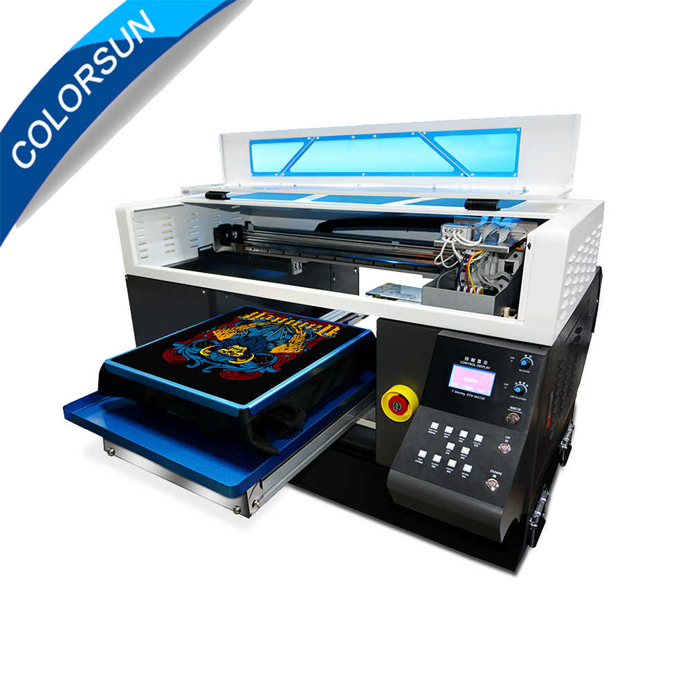 Colorsun High precision Automatic A3+ size T-shirt Flatbed printer 400*500mm DTG printer with 2pc 4720 printhead