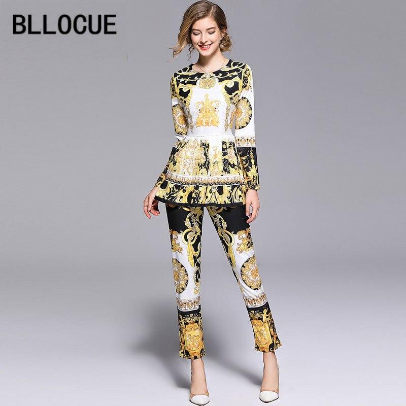 BLLOCUE High Quality 2018 Fashion Designer Runway Suit Set Women's Long Sleeve Vintage Print Tops + Pants Two Piece Set