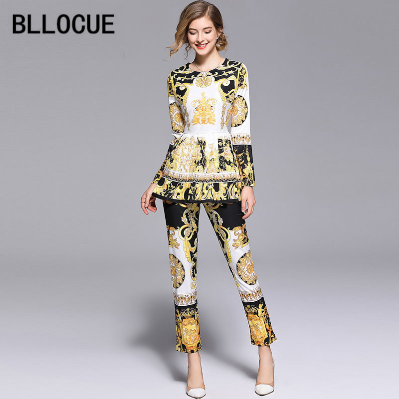 BLLOCUE High Quality 2018 Fashion Designer Runway Suit Set Women's Long Sleeve Vintage Print Tops + Pants Two Piece Set-in Women's Sets from Women's Clothing & Accessories on Aliexpress.com | Alibaba Group