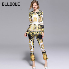 BLLOCUE 2018 Designer Runway Suit Women's Long Sleeve Vintage Print Tops Pants