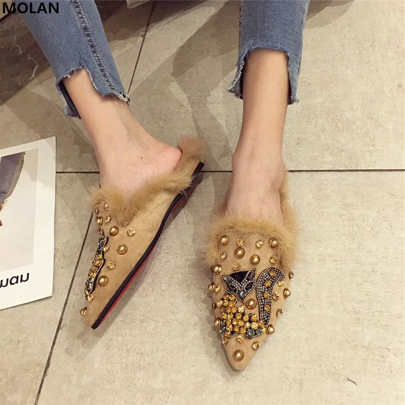 MOLAN Brand Designers 2018 Fashion High Quality Rhinestone Animal Rivet Woman Flat Furry Slides Slip On Loafers Mules Flip Flops miulamiula brand designers 2018 fashion rabbit hair woman flat slides lady shoes furry slippers slip on loafers mules flip flops