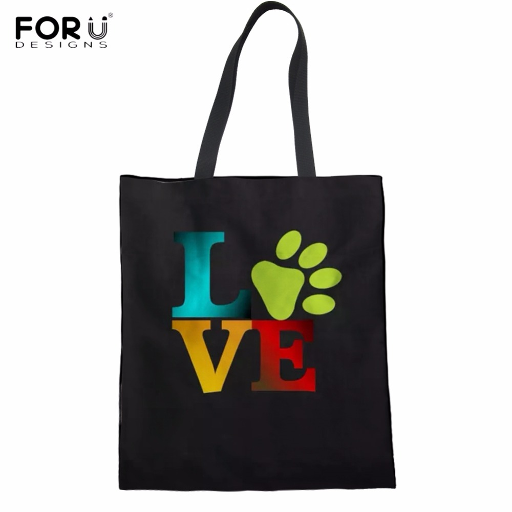 FORUDESIGNS Funny Love Paw Print Woman Linen Shopper Bags Casual Black Shopping Tote Bags Large Folding Reusable Cloth Eco Bags ...