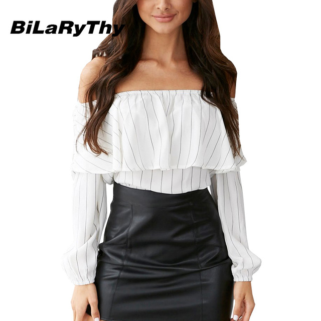BiLaRyThy Fashion Women Ladies Off the Shoulder Blouse Shirt Long Sleeve Slash Neck Ruffle Striped Basic Tops
