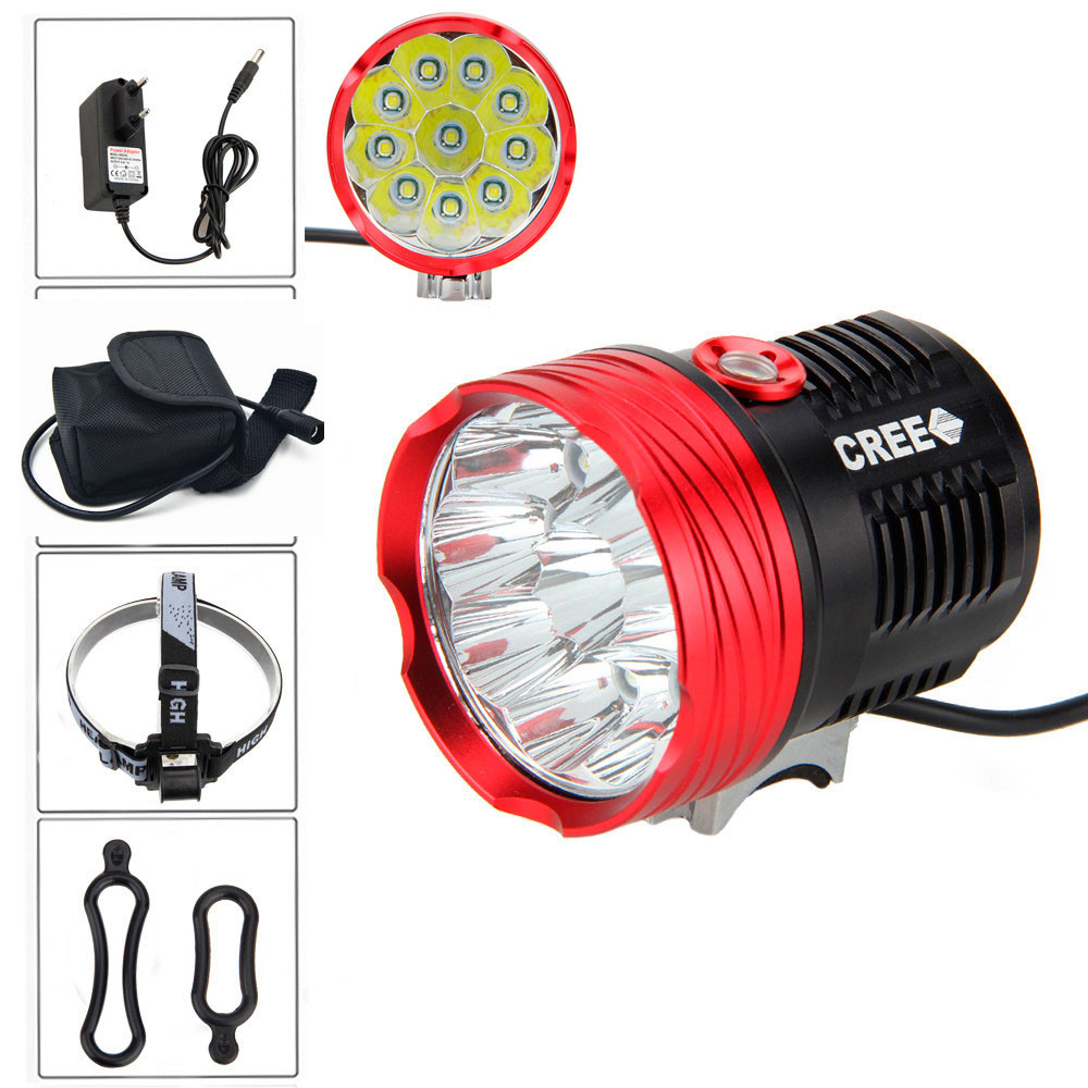 20000 lumens 10x CREE XM-T6 LED cycling Bike Bicycle Light Headlight Handlamp Flashlight +8800mah 18650 Battery Pack + Charger 5000 lumens 2x cree xm l u2 led cycling bike bicycle light head front light with 4x18650 battery pack and charger