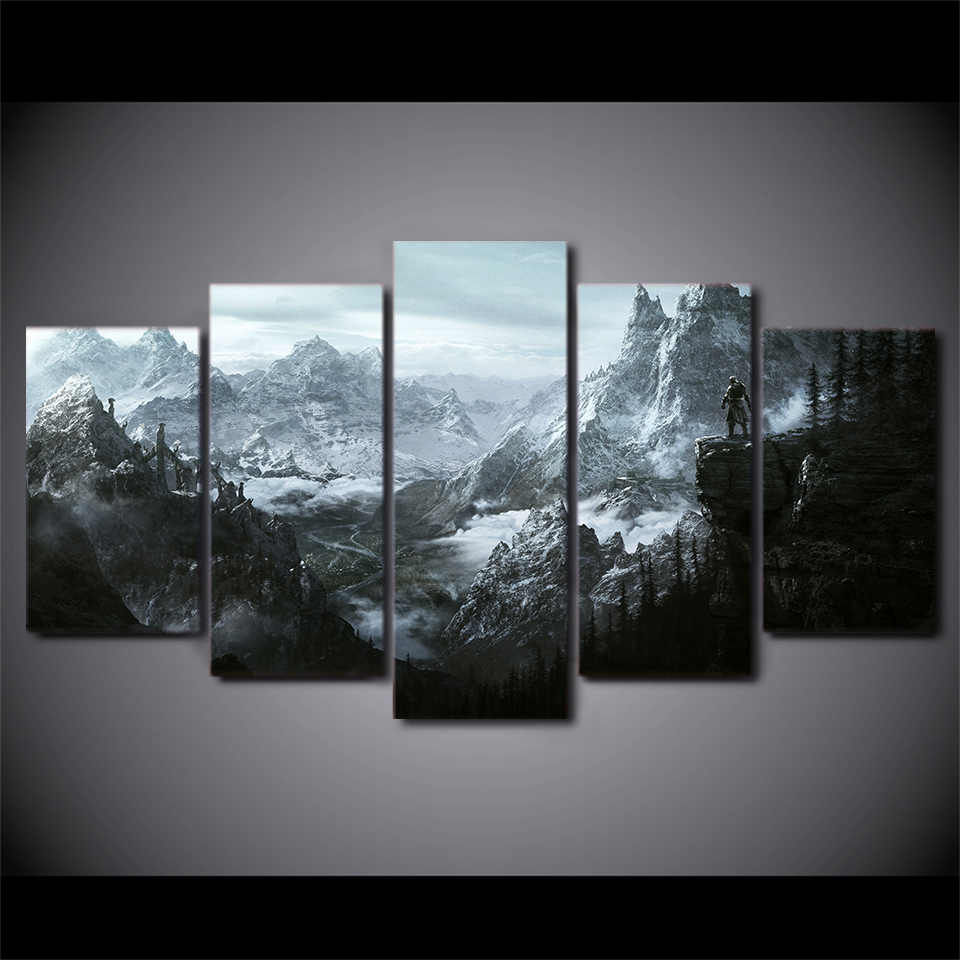 Framed 5 Piece Printed Classic poster Painting Sitting Room Decor Print Poster Picture Canvas Painting Home Decoration