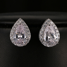 Фотография Beautiful Water Drop Shap Women Stud Earring Sparking Cubic Zirconia Pave Bridal Jewelry Girls Accessories For Party Gifts E-061