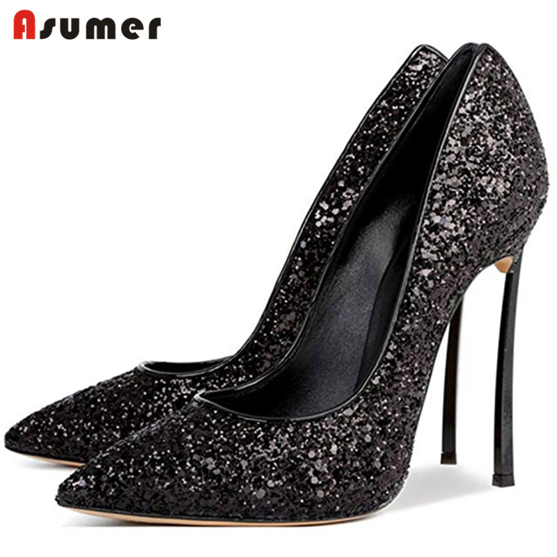 2019 new arrive Hot selling sexy thin high heels 12cm women shoes sequined Twinkle spring Autumn