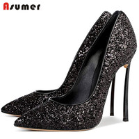 2019 new arrive Hot selling sexy thin high heels 12cm women shoes sequined Twinkle spring Autumn Pumps fashion dress party shoes