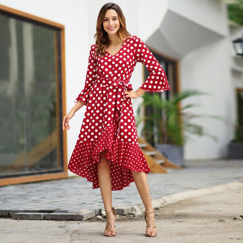 Women Streetwear Split long sleeve spring casual dress black maxi dress Polka dot ruffle wrap Mid-Calf dress