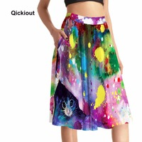 Qickitout Pocket Skirts 2016 Women S Summer Fashion 3D Digital Print Pocket Skirts High Waist Colorful