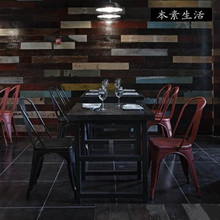 Wholesale American Iron wood square table restaurant bar coffee tea shop factory direct combination dinette