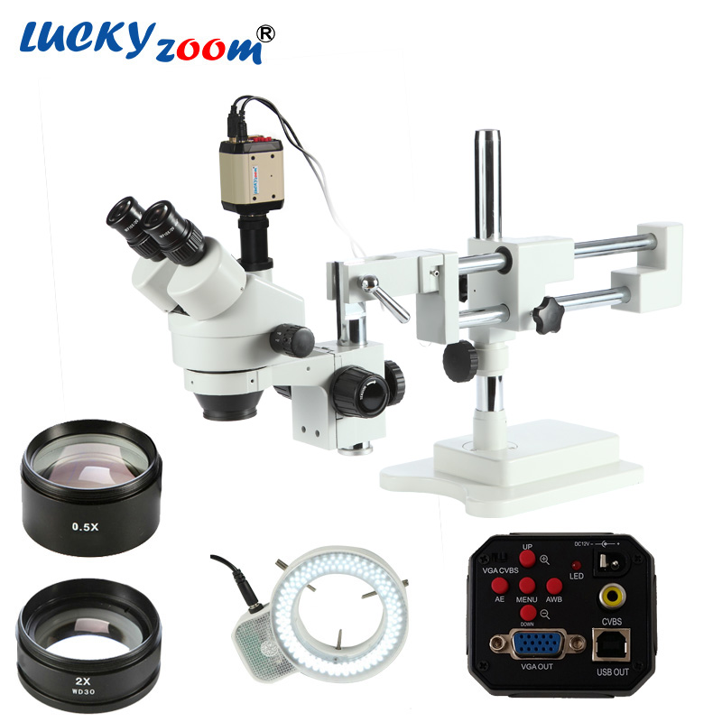Luckyzoom 3.5X-90X Double Boom Stand Stereo Zoom Microscope 2MP HD VGA Camera 144pcs Led Trinocular Microscopio Free Shipping цена