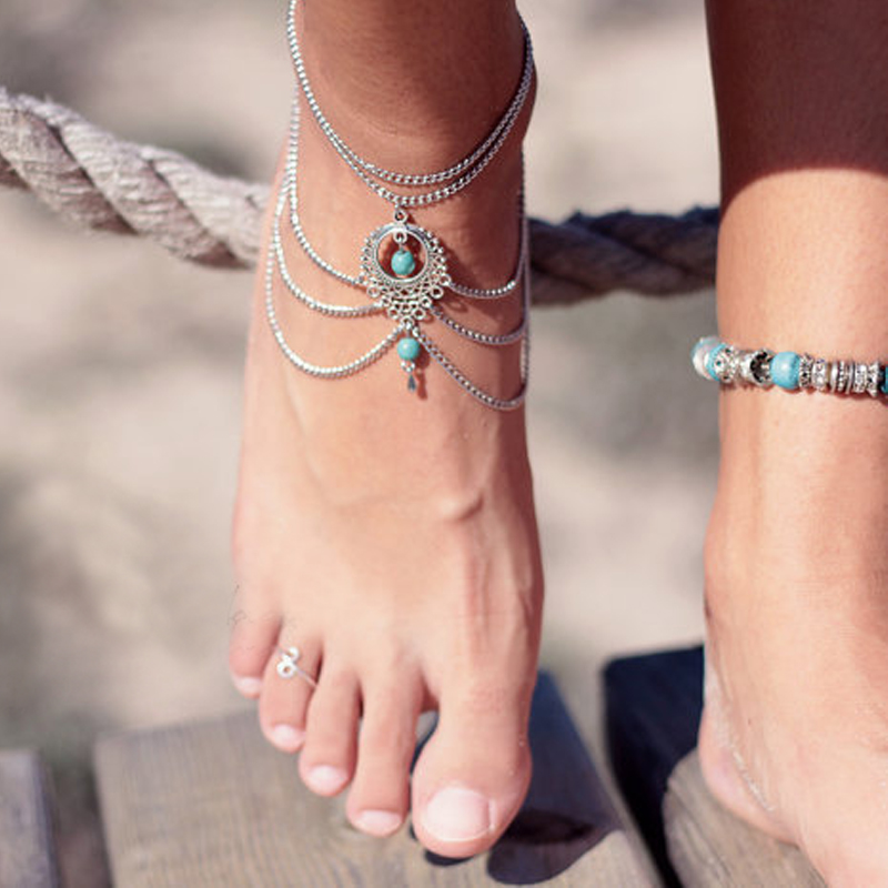anklet product beads jewelry stone bohemian big bracelet piece anklets color s cheville antique on ankles for vintage boho foot with ankle store blue women silver online