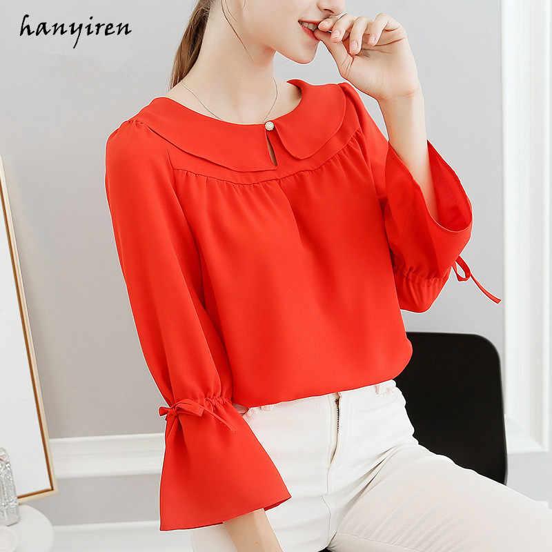 68794158253d9 Hanyiren Long Sleeve Flare Top White Casual Chiffon Shirts 2018 Summer Bow  Tie Work Wear Office
