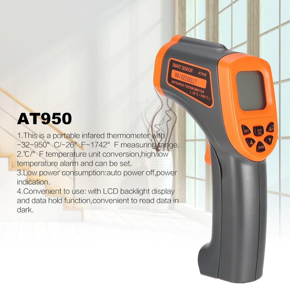 LCD digitale Portatile Termometro A Infrarossi Smart Sensor AT950 Temperatura Tester del Tester Rosso Laser Senza Contatto A INFRAROSSI Pirometro Pistola