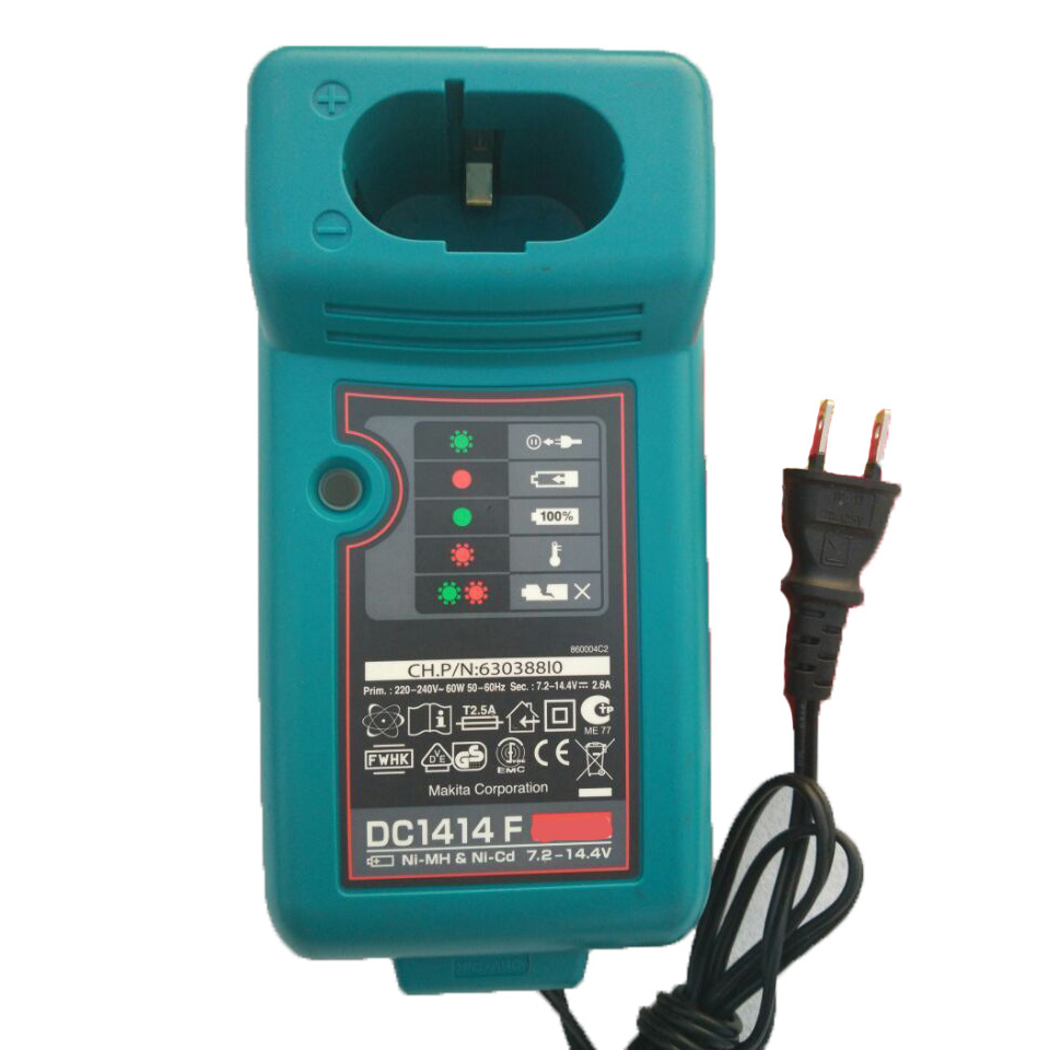 Used Electric Drill Screwdriver Accessory DC1414 Ni-cd Ni-mh Battery Charger For Makita 7.2V 9.6V 12V 14.4V 18V Battery Serise bcl1415 14 4v ni cd ni mh battery for hitachi bcl1415 18v ni cd ni mh battery