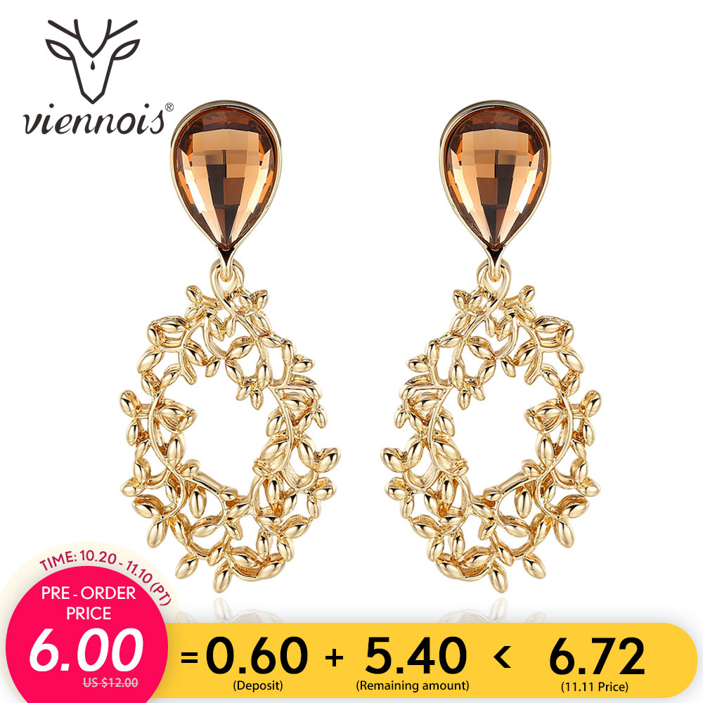 купить Viennois Vintage Silver Color Leaves Branch Drop Earrings for Women Water Drop Crystal Gold Color Dangle Earrings Female Jewelry по цене 396.55 рублей