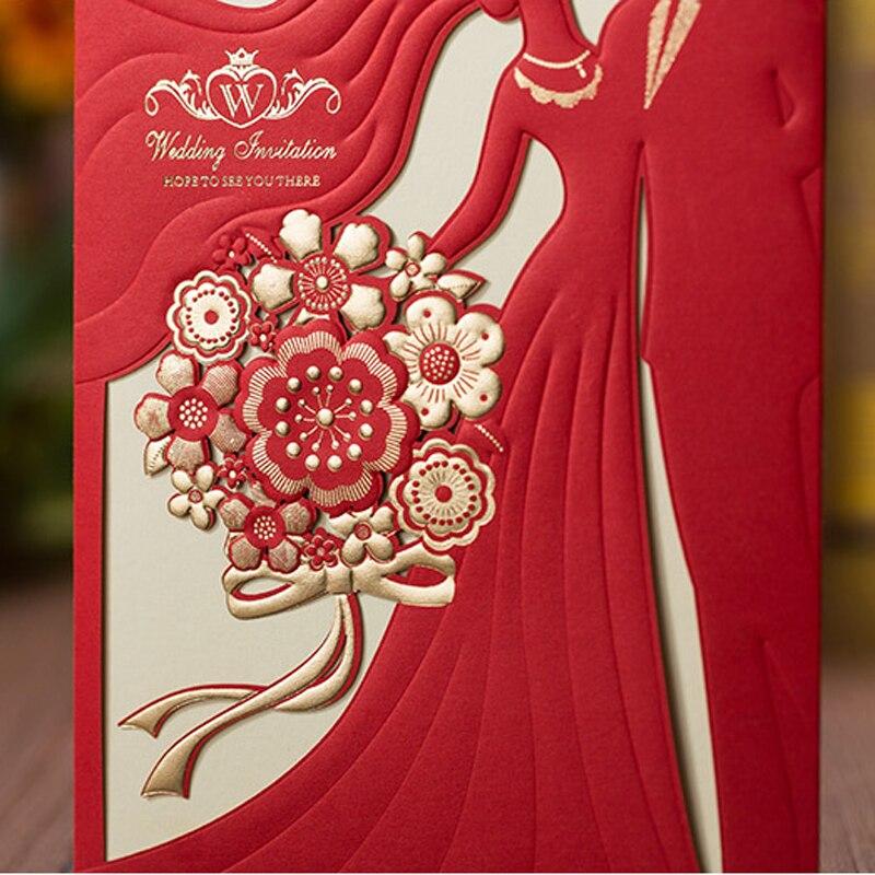 carte d invitation de mariage rouge romantique decoupee au laser design de la mariee et du marie lot de 50 pieces