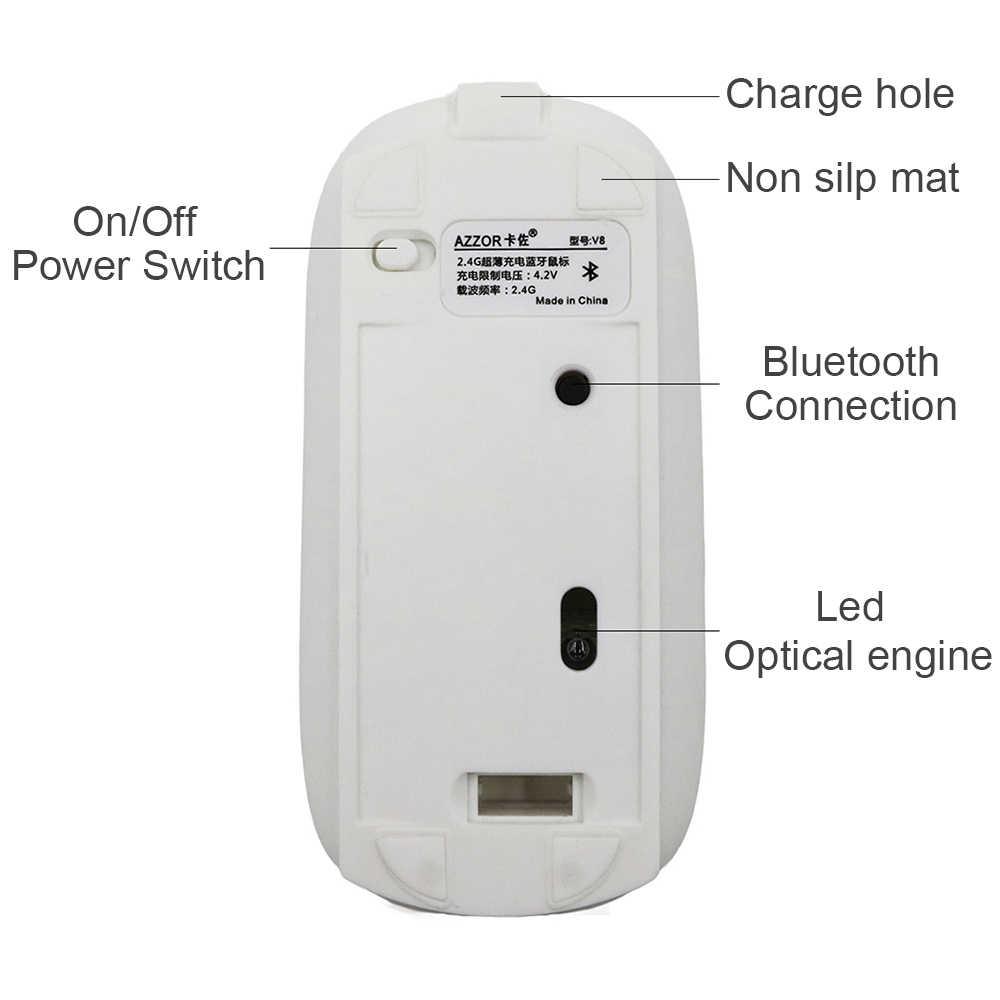 AZZOR V8 перезаряжаемая USB Bluetooth 3,0 Беспроводная мышь Бесшумная оптическая мини-мышь 2400 dpi для ПК и ноутбука