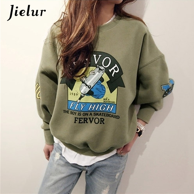 2019 Winter Autumn New Harajuku Funny Cartoon Tracksuit for Women Pullover Fleece Hoodies Loose Female Sweatshirt Army Green 2XL