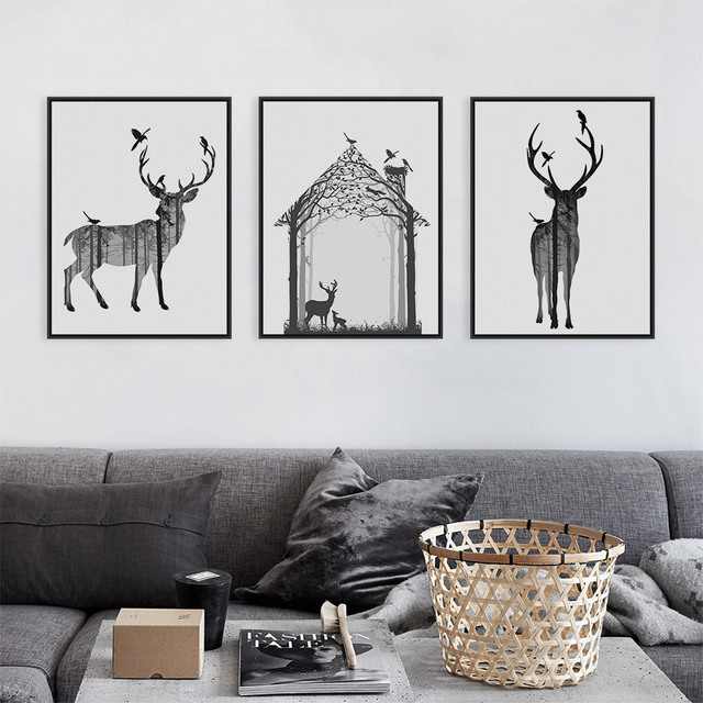 Vintage Black White Deer Head Animals Silhouette Art Print Poster Wall Picture Canvas Painting No Framed Home Deco
