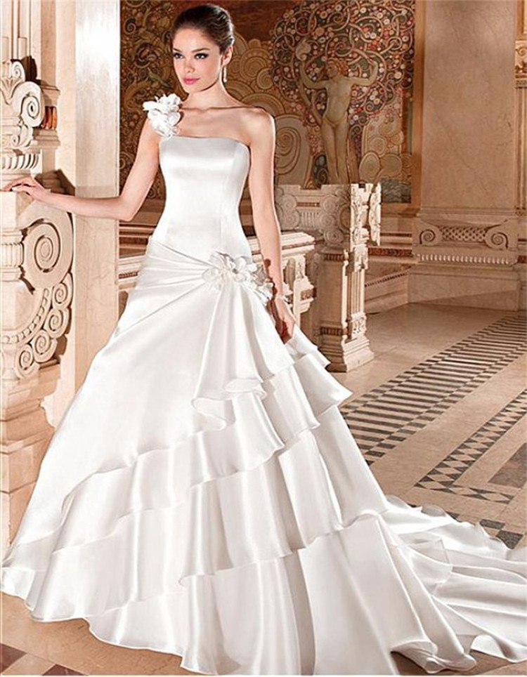2015 Empire One Shoulder Wedding Gown Vestido De Noiva Ruched ...