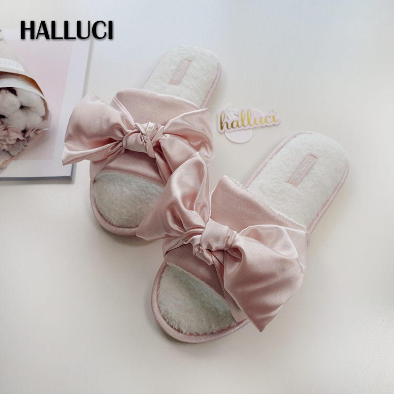 Summer Sweet Ice Satins Silk Sexy Slippers Shoes For Woman Cute Bow Pink Flip-flops Bedroom Non-slip Women Shoes Slippers