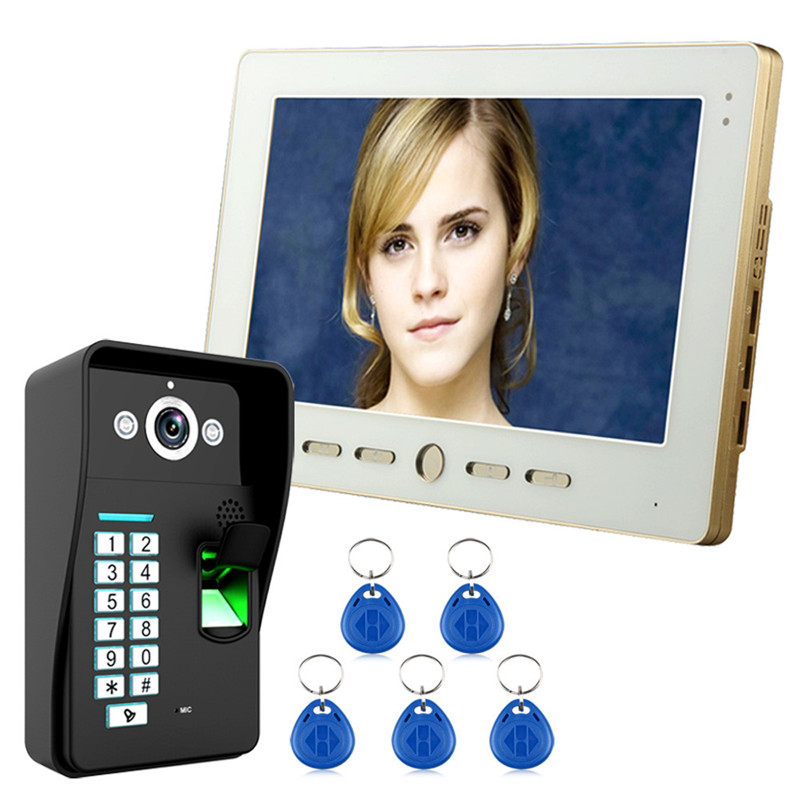 10inch Video Door Phone Intercom Doorbell System Camera With RFID Key Card/Password/Fingerprint To Unlock Night Vision Security 1v4 home security 7inch tft lcd monitor video door phone intercom doorbell night vision with rfid card password unlock camera