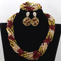 Fashion Dubai Costume Jewelry Set Twisted Crystal Beads African Fashion Jewelry Necklace Set Red and Gold Free Shipping WA491