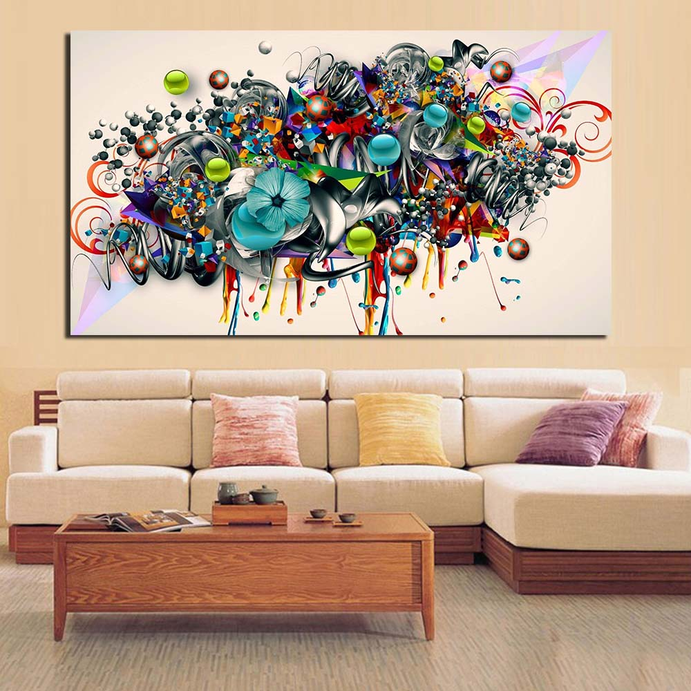 Jqhyart Graffiti Canvas Art Blossomed Flowers Painting Modern Wall Pictures For Living Room Home Decor Printed No Frame In Painting Calligraphy From Home