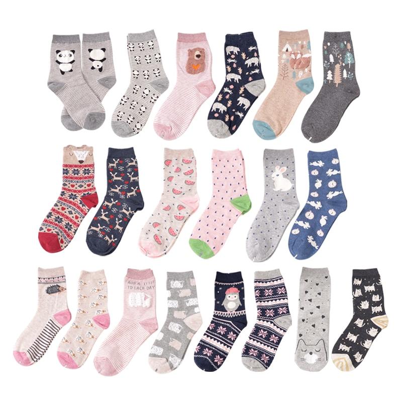 OLN 2 Paare/los Koreanische AKD081-100 Socken Frauen Baumwolle Niedlichen Cartoon Fuchs Panda Kaninchen Tier Socken Calcetines 18 stile