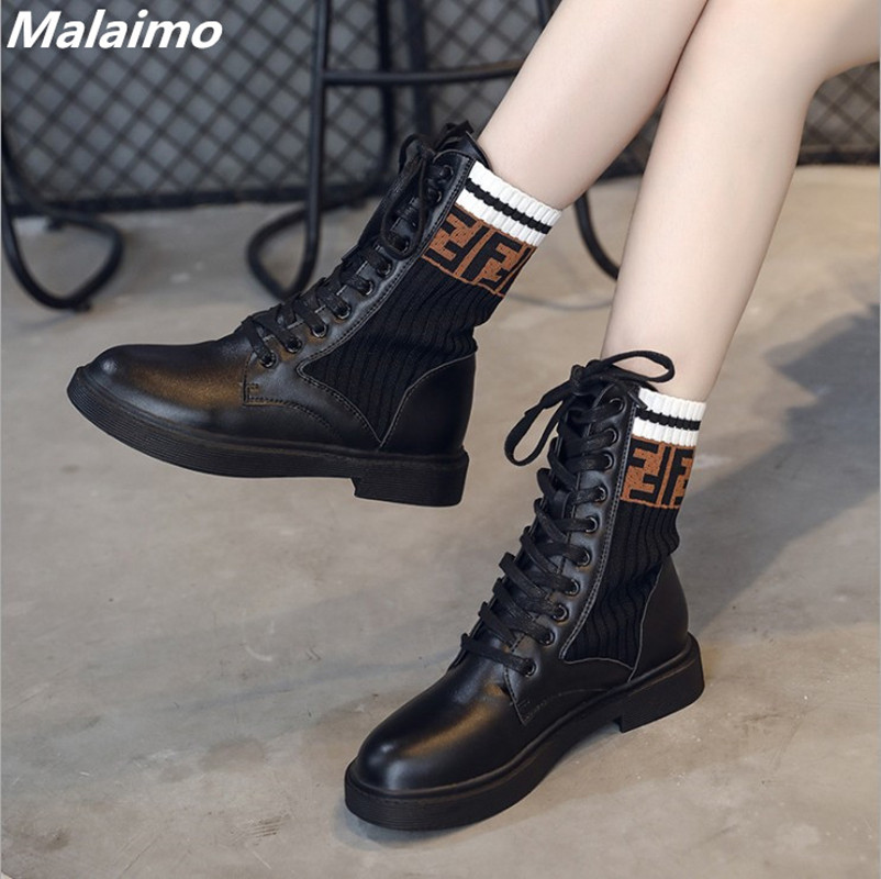 2018 new fashion casual Martin boots, European and American hot style student sock boots women's shoes 1