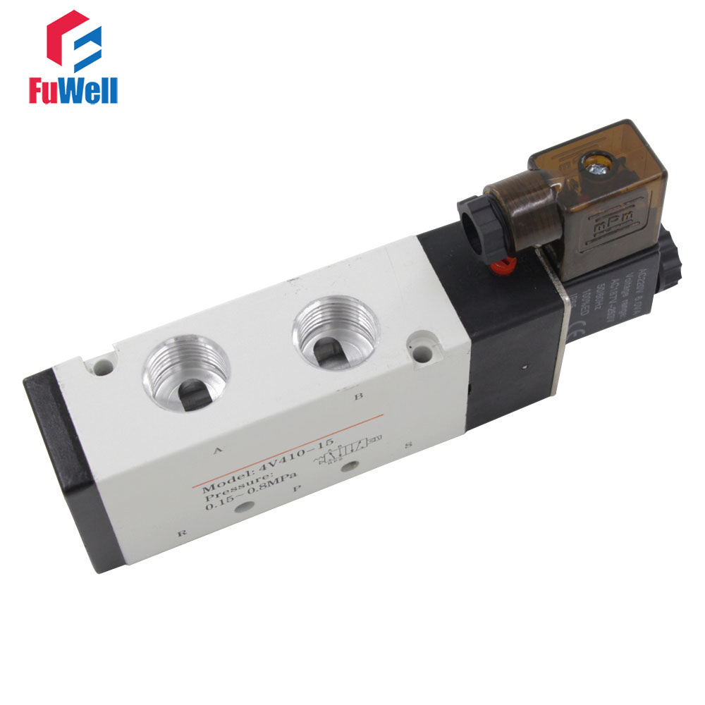 4V410-15 DC12V Solenoid Valve 5Port 2Position Pneumatic Valve Aluminum Alloy PT1/2 Air Valve 1pcs 4v110 06 ac220v lamp solenoid air valve 5port 2position bsp