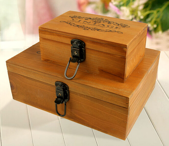 Us 12 45 11 Off 1pc Old Wood Grocery Box Retro Wooden Paulownia Small Bins Storage Clic Jewelry With Lock J0907 In