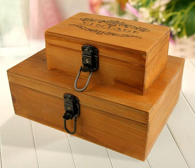 1pc Old Wood Grocery Box Retro Wooden Paulownia Small Bins Storage Clic