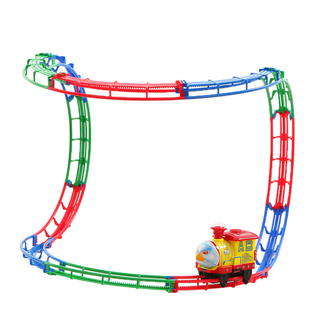 new rail car track racer racing car popular kids toys electric track battery powered diy toy
