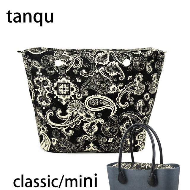 Tanqu 2018 новый классический мини-молния карман для большой мини Obag водостойкий цветочный холст внутренний карман внутренняя подкладка вставк...