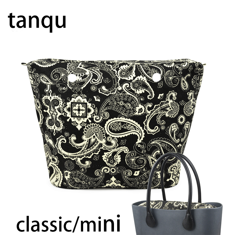 tanqu 2018 New Classic Mini Zipper Pocket for Big Mini Obag Waterproof Floral Canvas Inner Pocket Inner Lining Insert for O bag new canvas insert tela insert for o chic lining canvas waterproof inner pocket for obag ochic