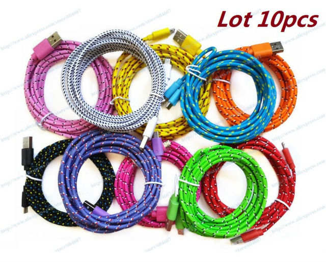 Lot 10pcs New Colorful 3m Micro 5P Braided Fabric Sync Data USB Cable For Samsung S S2 S3 S4 Note Note2 All Android Phone